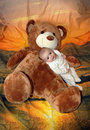 Free Infant Baby Boy With Bear Royalty Free Stock Photography - 9393047