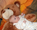 Free Infant Baby Boy With Bear Stock Photo - 9393060