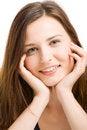 Free Beautiful Smiling Girl Lying On Floor Stock Image - 9398741