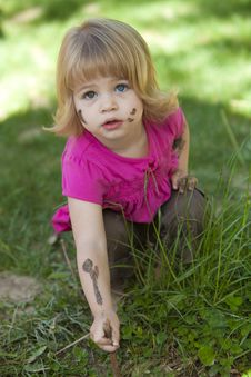 Free Little Girl In Pink With Muddy Face Royalty Free Stock Photography - 9391877