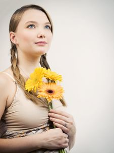 Free Girl With Flowers Stock Image - 9392501