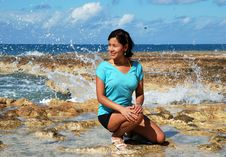 The Girl With Water Splashes Royalty Free Stock Image