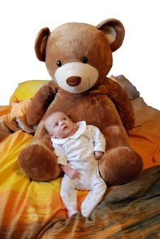 Free Infant Baby Boy With Bear Stock Images - 9392984
