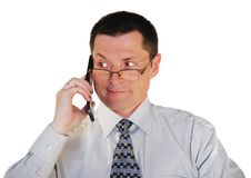 Free Man In Glasses With A Cell Phone Royalty Free Stock Photography - 9393217