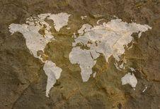 Free World Map On Grunge Rock Background Stock Photo - 9393710