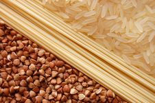 Background From  Spaghetti, Rice And  Buckwheat Royalty Free Stock Photo