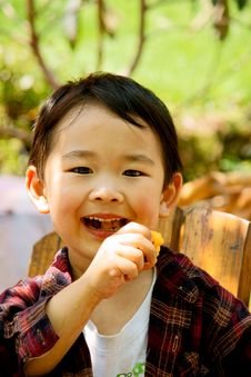Boy Eating Loquat Stock Photos