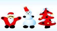 Free Santa, Snowman, Christmas Tree Royalty Free Stock Photo - 9396915