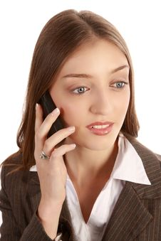 Beautiful Woman With Cell Phone Royalty Free Stock Photo