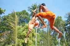 Kalarippayat,fight In Air,ancient Martial Art Royalty Free Stock Photos