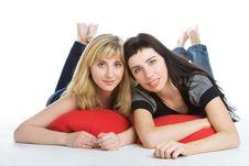 Two Beautiful Lying Girls Stock Photography