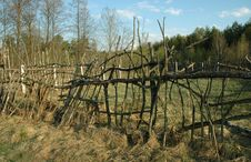 Wattled Wood Fence Stock Photography
