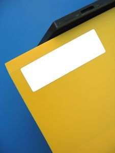 Empty Label On Yellow Folder Stock Photo