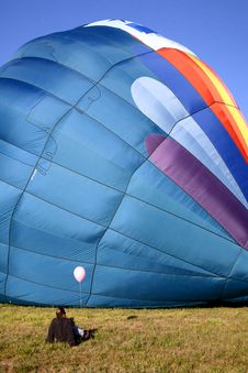 Hot Air Balloon On Ground Stock Photos