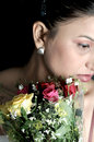 Free Sad Girl With Rose Bouquet Stock Images - 9400444