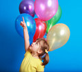 Free Little Girl Holding Colorful Balloons Stock Photo - 9406930
