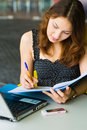 Free Young Pretty Caucasian Lady Using Laptop Outdoors Royalty Free Stock Image - 9408386