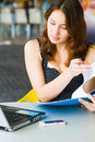 Free Young Pretty Caucasian Lady Using Laptop Outdoors Stock Image - 9408411