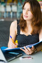 Free Young Pretty Caucasian Lady Using Laptop Outdoors Stock Photography - 9408412