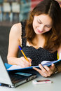 Free Young Pretty Caucasian Lady Using Laptop Outdoors Stock Photography - 9408452
