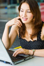 Free Young Pretty Caucasian Lady Using Laptop Outdoors Royalty Free Stock Photos - 9408528