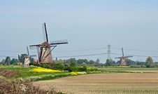 Free Typical Dutch Windmills Stock Photography - 9401042