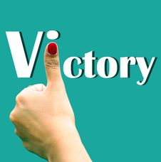 Free Hand Sign Depicting Victory Stock Photo - 9402200