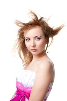 Beautiful Girl With Flying Hair Stock Image