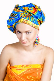 Free Beautiful Girl With In Colorful Clothes And Hat Royalty Free Stock Image - 9402566