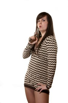 The Girl With The Weapon. Stock Photography