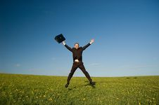 Free Jumping Happy Businessman Stock Images - 9403834