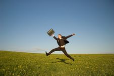 Free Jumping Happy Businessman Royalty Free Stock Image - 9403906