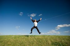 Free Jumping Happy Businessman Royalty Free Stock Photo - 9404115
