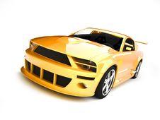 Free Dynamic Yellow Sportscar Royalty Free Stock Photos - 9404348