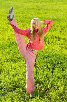 Free Exercising On Green Medow Royalty Free Stock Photo - 9404405