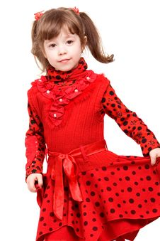 Free Cute Little Girl In Red Dress Stock Photography - 9404452