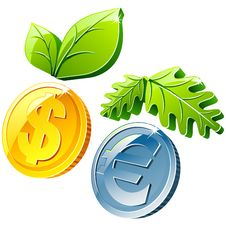 Free Coins And Leafs Stock Images - 9405274