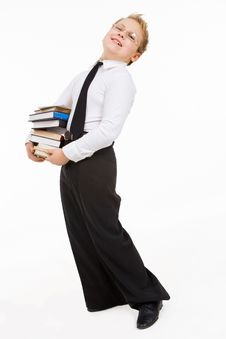 Free Little Boy Carrying Books Stack Royalty Free Stock Images - 9405509