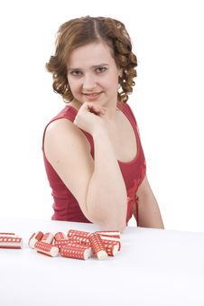 Free Nice Girl With Red Hair-curlers. Stock Photo - 9405710