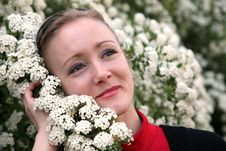 Free Young Woman With Flowers Stock Image - 9405831