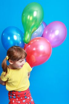 Free Little Girl Holding  Balloons Royalty Free Stock Photography - 9406607