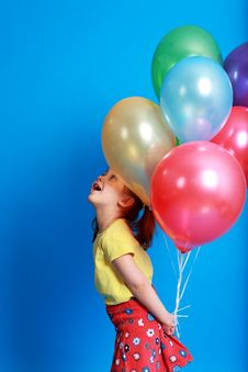 Free Little Girl Holding  Balloons Royalty Free Stock Photography - 9406737