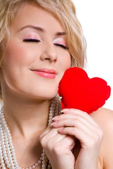 Free Blonde Beautiful Girl Holding Big Red Heart Stock Image - 9406901