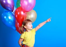 Free Little Girl Holding Colorful Balloons Royalty Free Stock Photos - 9406968