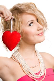 Free Blonde Beautiful Girl Holding Big  Heart Royalty Free Stock Image - 9407006