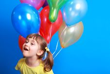 Free Little Girl Holding Colorful Balloons Stock Photo - 9407010