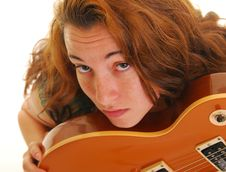 Free Beautiful Woman With Guitar Royalty Free Stock Photo - 9407735