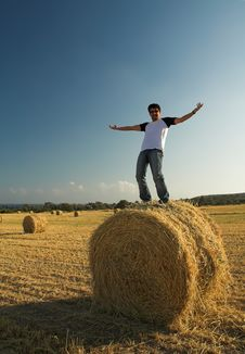 Free Man Standing On Haystack Stock Photography - 9408202