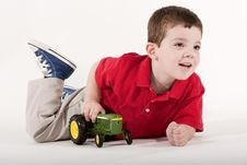 Free Playing With His Tractor Stock Photos - 9408333