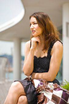 Young Pretty Caucasian Lady Outdoors Royalty Free Stock Images